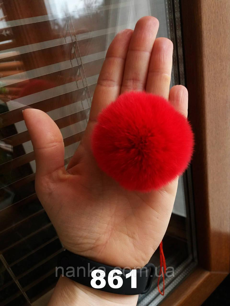 Меховой помпон Кролик РЕКС, Красный, 6 см, 861