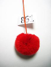 Меховой помпон Кролик РЕКС, Красный, 6 см, 861, фото 3