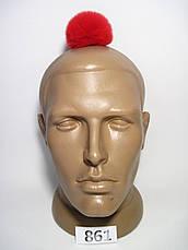 Меховой помпон Кролик РЕКС, Красный, 6 см, 861, фото 2