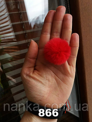 Меховой помпон Кролик РЕКС, Красный, 4/5 см, 866, фото 2