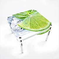 Стол обеденный на хромированных ножках Квадратный с проходящей полкой Ice lime