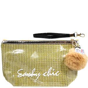 48114 косметичка клатч KATTi Glitter блестящая с меховым помпоном прямоугольная 23х14см золото