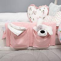 Детский  органайзер на 2 кармана тканевый на деткую кроватку подвесной для хранения игрушек и книг