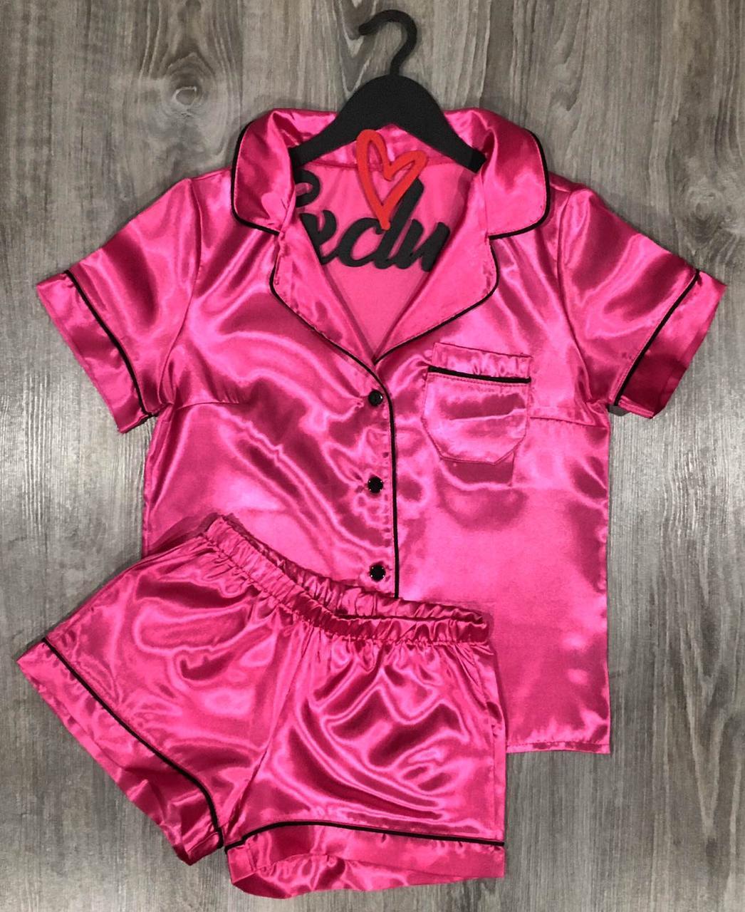 ТМ Exclusive - малинова піжама шорти і сорочка