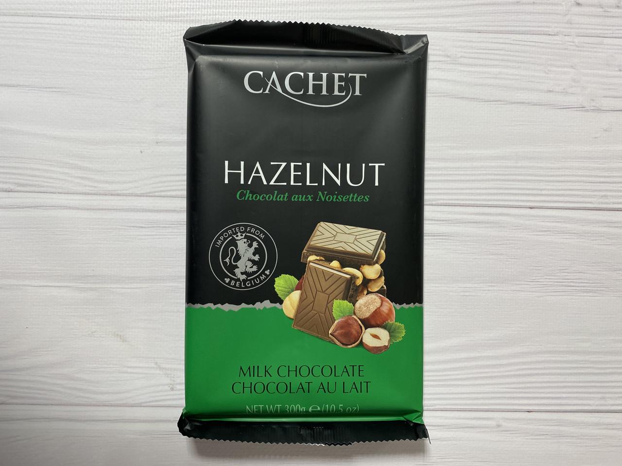 Бельгийский шоколад Cachet (Кашет) молочный 32% какао с фундуком.