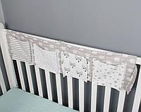 Детский органайзер тканевый 4 кармашка на деткую кроватку подвесной для хранения игрушек и книг