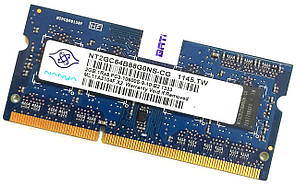 Оперативная память для ноутбука Nanya SODIMM DDR3 2Gb 1333MHz 10600s 1R8 CL9 (NT2GC64B88G0NS-CG) Б/У