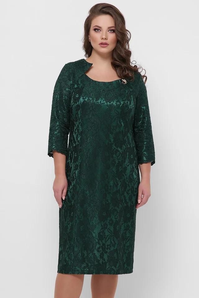 Нарядное платье Катрин  3\4 рукав изумруд (52-58)