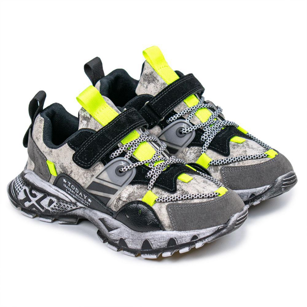 Кроссовки для мальчиков Kimboo 34  серый/ зеленый 980869
