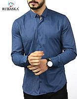 Легкая рубашка с принтом и классическим воротом синего цвета
