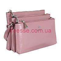 Сумка розовая  на плечо с тремя отделениями Tessera