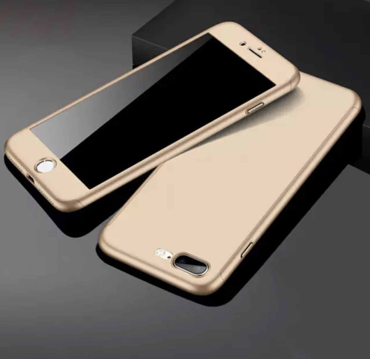 Чехол накладка  для Iphone 5/5S/5SE противоударный 360 градусов стекло в подарок, gold