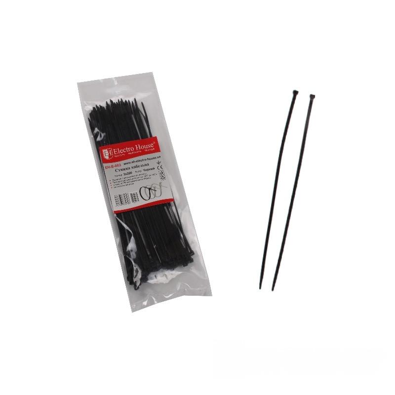 ElectroHouse кабельна Стяжка чорна 3x200