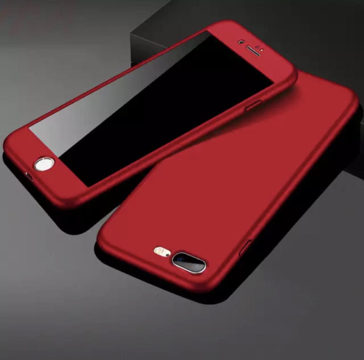 Чехол 360 Iphone 6/6S  + стекло  подарок, Red