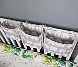 Детский карман - органайзер тканевый на деткую кроватку подвесной для хранения игрушек и книг, фото 3