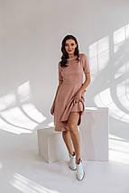 """Приталенное замшевое платье А-силуэта """"Amie"""" с коротким рукавом, фото 3"""
