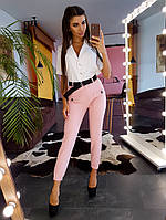 Комплект: Зауженные брюки с поясом персикового цвета и рубашка на пуговицах, фото 1