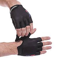 Перчатки для фитнеca HARD TOCH, PVC, PL, открытые пальцы, р-р XS-L, черный (FG-010)