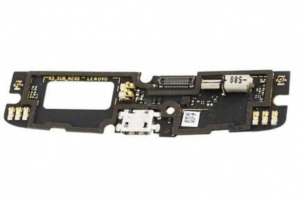 Нижняя плата Lenovo A7010 Vibe X3 Lite, Vibe K4 Note, K5 (K51c78) с микрофоном, виброзвонком и разьемом, фото 2