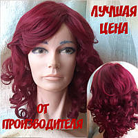 Парик из натуральных волос удлиненный каскад яркий бургунд ANGELIKA- BUG
