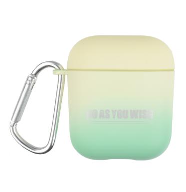 Противоударный чехол - Airpods Apple. Пластик. Градиент (желто-зеленый)