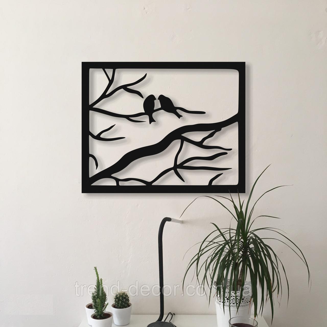 Декоративное металлическое панно Птицы в рамке .