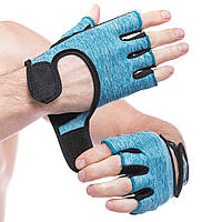 Перчатки для фитнеca HARD TOCH, PVC, PL, открытые пальцы, р-р XS-L, голубой (FG-008)