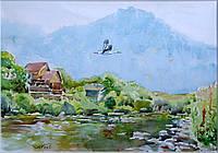 """Картина живопись акварель """"Дом у реки. С. Соймы Закарпатская область."""""""