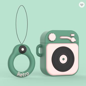 Протиударний чохол - Airpods Apple. Пластик. Силікон. Програвач і пластинка (зелений з рожевим)