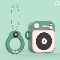 Протиударний чохол - Airpods Apple. Пластик. Силікон. Програвач і пластинка (зелений з рожевим), фото 1