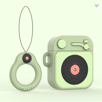 Противоударный чехол - Airpods Apple. Пластик. Силикон. Проигрыватель и пластинка (зеленый)