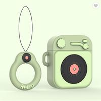 Противоударный чехол - Airpods Apple. Пластик. Силикон. Проигрыватель и пластинка (зеленый), фото 1