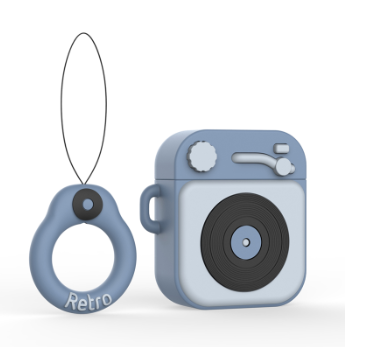 Противоударный чехол - Airpods Apple. Пластик. Силикон. Проигрыватель и пластинка (голубой)