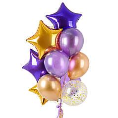 Воздушные шары и звездочки с гелием в фиолетово-золотой гамме