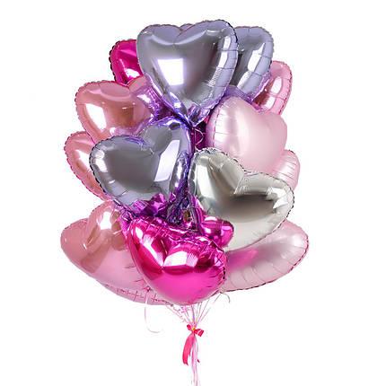 Нежные воздушные шары сердца с гелием в розовом и сиреневом цветах, фото 2