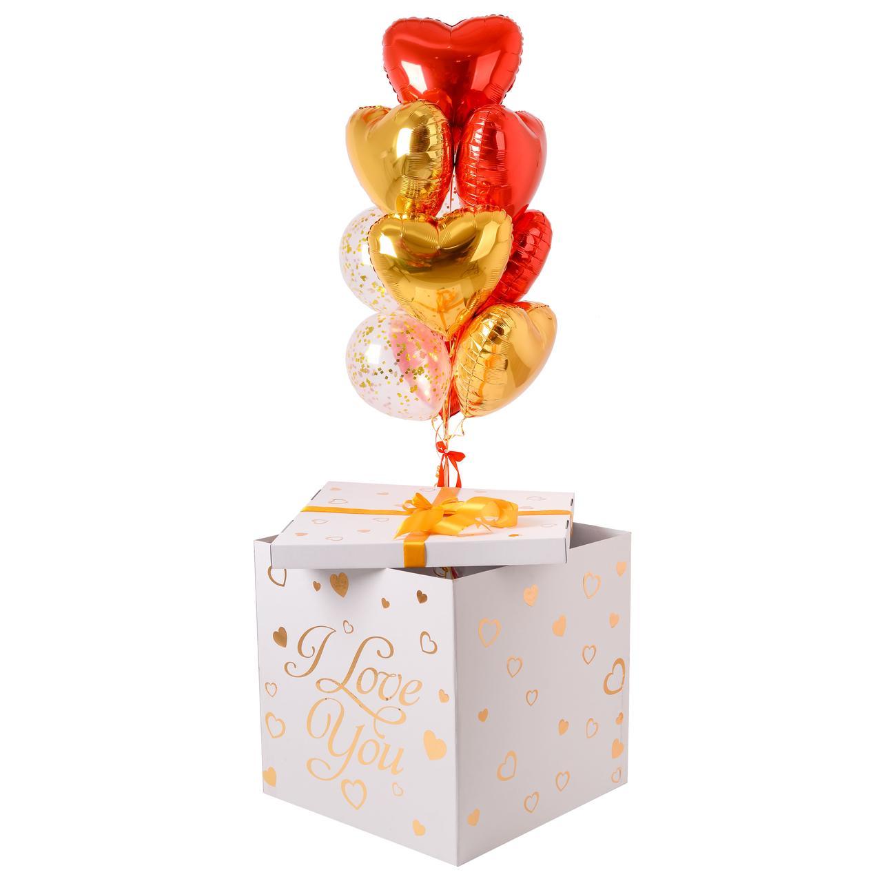 Коробка I love you с шариками сердечками для любимой на 14 февраля