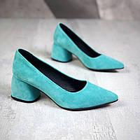 Шикарные замшевые туфли на каблучке 36-40 р голубой, фото 1