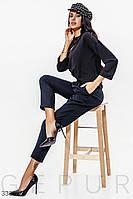 Женские классические брюки прямого кроя средней посадки темно-синие