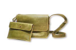 Кожаная сумка кросс-боди Cross женская оливковая