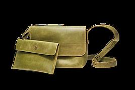 Шкіряна сумка крос-боді «Cross Olive» жіноча оливкова (25x19 см) з косметичкою ручної роботи