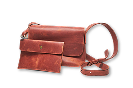 Шкіряна сумка крос-боді «Cross Cognac» жіноча янтарна (25x19 см) з косметичкою ручної роботи від