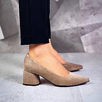 Шикарные замшевые туфли на каблучке 36-40 р латте, фото 1