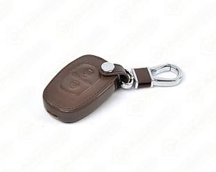 Кожаный чехол на корпус ключа (коричневый) на Renault Trafic II 2001->2014 - DSP (Китай) - PGCASEBROWN