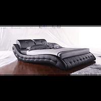 Кожаная двуспальная кровать B105 черная (камни) Sonata Mobel,Германия