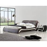 Кожаная двуспальная кровать B207 венге-молочная Sonata Mobel,Германия