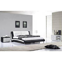 Кожаная двуспальная кровать B208 черно-белая Sonata Mobel, Германия
