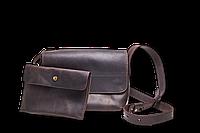 Кожаная сумка кросс-боди «Cross Brown» женская коричневая (25x19 см) с косметичкой ручной работы от pan Krepko