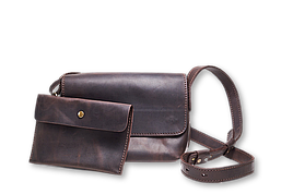 Кожаная сумка кросс-боди Cross женская коричневая