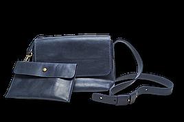 Шкіряна сумка крос-боді «Cross Blue» жіноча синя (25x19 см) з косметичкою ручної роботи