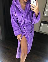 Р-р 44, 46, 48, 50, 52, Махровый женский халат  длинный с капюшоном